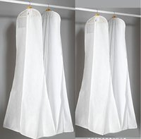 Wholesale Long Dress Garment Bag - 2017 In Stock Hot Sale Big Wedding Dress Gown Bags High Quality White Dust Bag Long Garment Cover Travel Storage Dust Covers