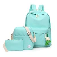 Wholesale Bookbags Women - 2017 Women Canvas Set Backpack Green Color Fresh Daypack Bookbags School Student Backpacks Bags Teenage girls 3 pcs Mochila