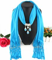 Wholesale Dyed Turquoise Beads - Latest Cheap Fashion Women Scarf Direct Factory Turquoise Beads Pendant Scarf Necklace Winter Scarf Elegant Ladies Shawl