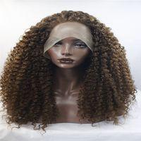 harmanlanmış peruklar toptan satış-Moda peruk lave ön peruk kıvırcık dantel peruk, bal ve koyu kahverengi bir karışımı, kıvırcık Koyu kahverengi Kıvırcık saç Afro-amerikan moda peruk