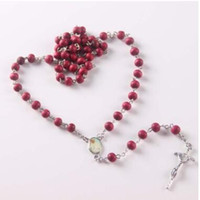 Wholesale Red Rosary Necklace - perfume rose scented rosary necklace  red bead rosary virgin mary center and plastic saint box