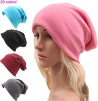 Wholesale Candy Skulls Wholesale - New Candy color Hip-hop street style loose casual sports men women knitted cotton hats winter BEANIES CAP 20colors cc708