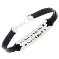 Wholesale Enamel Stamp - Declaration Of Love Enamel Stamped Bracelet Love You To The Moon Leather Stamped Inspirational Bracelet wholesale 10pcs lot free shipping