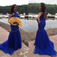 Wholesale Rhinestone Brooches Pink - Fast Shipping Mermaid Prom Dresses 2017 New Sexy Halter Neck Keyhole Back Rhinestone Beaded Bodice Royal Blue Lace and Tulle Evening Gowns