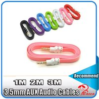Wholesale Iphone Ft Cable - 1M 2M 3M  3FT 6FT 10 FT flat Noodle 3.5mm Male to 3.5mm Male Stereo Aux Audio Cable for iphone 5