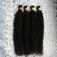 keratin tırnak ucu saç uzantıları toptan satış-U İpucu Saç keratin sopa ucu saç uzantıları kinky kıvırcık 200g 200 s Doğal Renk keratin prebonded tırnak U İpucu REMY saç uzantıları