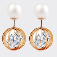 Wholesale Round Candy Tins - Fashion Double Pearl Earrings Jewelry Factory Dircet Wholesales High Quality Zircon Stud Earrings Round Trend Candy Earrings Jewelry 11M45