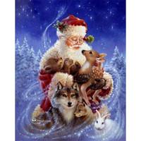 Wholesale Animal Craft Kits - Santa Claus and Animals 5D DIY Mosaic Needlework Diamond Painting Embroidery Cross Stitch Craft Kit Wall Home Hanging Decor