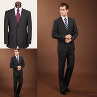 Wholesale Mens Elegant Suit - 2018 Elegant Mens Wedding Suits Two Button Satin Two Pieces(Jacket+Pants) Bridegroom Wedding Tuxedos Groom Wear