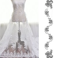 beyaz elbise için dantel süsleme toptan satış-Beyaz Fransız bağbozumu kumaş nakış dantel gelinlik gazlı bez giyim dekorasyon malzemeleri DIY aksesuarlar Dantel kumaş L019