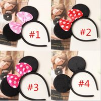 Wholesale Black Bow Hair Accessories - 150pcs Lovely Girls Bows Mouse Ears kids Hair Accessories Party Headband kid birthday red rose black and pink kids Gift hair sticks