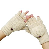 Wholesale Fingerless Gloves Cotton - Wholesale- 2016 Thermal Mens Winter Gloves Detachable Half Finger Flip Gloves Braid Knit Fingerless Gloves Unisex Warm Wool Womens Mittens