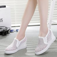 Wholesale Casual Day Dresses For Women - 2016 Women Casual Shoes Wedge Boots For Women Breathable Women High Top Heel Platform Rhinestone Shoes Woman Black White NX79