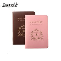 Wholesale Travel Documents Case - 1pc Fashion New Passport Holder Documents Bag Sweet Travel Passport Cover ID Card Case Pink Coffee