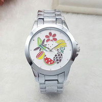 Wholesale Images Christmas Gifts - Unisex men women watches luxury brand 40mm dial with fruit image Full Stainless Steel band fashion watch for mens ladies girl boy best gift