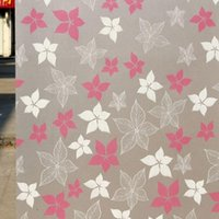 Hot Sweet 45x100cm Glassato Cover Glass Window Color Flower Sticker Pellicola Adesiva per la casa Bagno Arredamento per ufficio