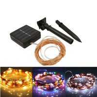 Wholesale Solar Powered Balcony Lights - Solar Power String Light 10M 100 Led Copper Wire String Fairy Light For Outdoor Living Decoration Garden Balcony Sunroom