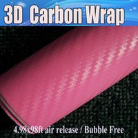 Wholesale Pink Laptop Stickers - Pink 3D Carbon Fiber vinyl Car wrapping Film Air Bubble Free Car styling Free shipping thickness 0.18mm Carbon laptop foil 1.52x30m Roll