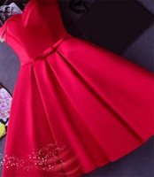Wholesale Prom Dresses Sweethart - Cheap Satin Short Prom Party Dresses 2016 under 100 Sexy Sweethart Sash Corset Homecoming Gowns New Arrival