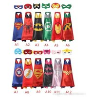 Wholesale Teenage Spiderman Costume - hot Double side L70*70cm kids Superhero Capes and masks - Spiderman Flash Supergirl Batgirl Robin for kids capes with mask children cloak
