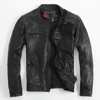 Wholesale Russian Sheepskin - FREE SHIPPING 2017 New Men Black Stand Collar Genuine Sheepskin Leather Jacket Short Slim Fit Winter Russian Casual Leather Coat