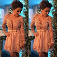 Discount long sleeve prom dress bow back - 2017 New Lace Applique Long Sleeves Homecoming Dresses Beaded Deep V neck Bow Sash Sexy Cocktail Dress A-line Prom Party Gowns