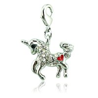 Wholesale silver unicorn charm resale online - Fashion Silver Color Lobster Clasp Charms White Rhinestone Unicorn Animal Charms DIY For Jewelry Making Accessories