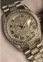 relojes cara de diamante al por mayor-Alta calidad del Mens automático de lujo del reloj presidente Day-Date cara del diamante Bisel hebilla del acero inoxidable para los hombres del regalo del reloj mecánico