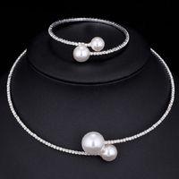 collier bracelets perle accessoires achat en gros de-Imitation de perles de cristal bijoux de mariée ensembles Femal mariage vintage ethnique cadeau Bijoux Fashion Bracelet Collier ras du cou pour femmes Accessoires