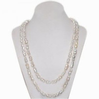 Wholesale Long Baroque Freshwater Pearl Necklace - 48 inches 8-9mm Hand Made Knotted Natural Cultured Freshwater White Peanut Shaped Long Chain Baroque Pearl Necklace