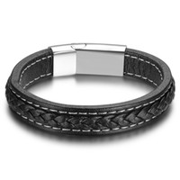 Wholesale titanium leather mens bracelet - 5pc A Lot Men Leather Wristband Bracelets Sporty Accessories Stainless Steel Leather Bracelets Bangles Fashion Mens Jewelry