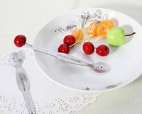 Wholesale smile stick - Multifunction Lovely Child Fruit Fork Stainless Steel Smiling Face Tableware Spoon Fork 2 in 1 Cartoon Dessert Cake Stick
