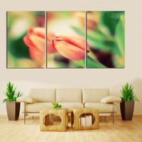 duvar resmi pembe çiçek tuvali toptan satış-3 Adet Sıcak Satmak Açık pembe Çiçekler Wall Art Resim Modern Ev Dekorasyon Oturma Odası kumaş Tuval Baskı Boyama Duvar Sanatı