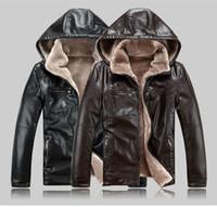 herren gefütterte lederjacke groihandel-Herren-Lederjacken Wintermäntel Pelz Kapuze TCHIK Warme Jacken Kaschmirfutter Outwear Tops Tops Qualitäts-große Größe M-5XL