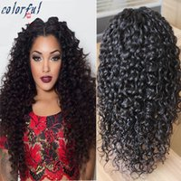 Wholesale Cheap Wavy Full Lace Wig - Malsysian Cheap Curly And Wavy Full Lace Frontal Wig Unprocessed Swiss Lace Wig Deep Wave Hair Wig Virgin Malaysian Hair