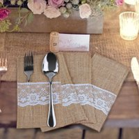 Wholesale Chinese Tableware - Vintage Jute Lace Tableware Bag Fork and Knife Burlap Holder Cutlery Pocket Wedding Table Decoration + DHL Free Shipping