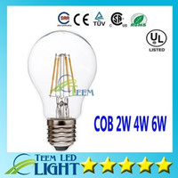 Wholesale E27 Dimmable Ball - DHL Dimmable Led globe bulb 2W 4W 6W E27 A60 A19 Vintage LED Filament Bubble ball Bulb 85-265V Edison Globe Bulb 120LM W