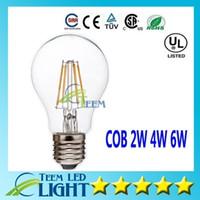 Wholesale E27 Led Dhl - DHL Dimmable Led globe bulb 2W 4W 6W E27 A60 A19 Vintage LED Filament Bubble ball Bulb 85-265V Edison Globe Bulb 120LM W