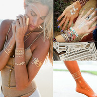 Wholesale Hand Foot Cuffs - 9pcs gold silver metallic tattoos necklace bracelet flash jewelry tattoos Sparkle shine temporary tattoos chic chains cuff bands 104 designs