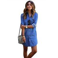 Wholesale Denim Boyfriend Shirt - Fashion Women Loose Casual Cowboy Dress Boyfriend Long Sleeve Single Breasted Shirt Mini Dress With Button SV028013