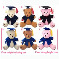 """Wholesale Christmas Mixed Teddy Bear - New 6pcs Lot 17cm(6.7"""") Lovely Graduation Teddy Bear Plush Joint Doctor Bear Pendants Craft Doll Personalized graduation gifts,Mixed Color"""