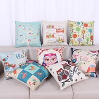 Linen/Cotton Blend owl bird house - Lovely Cartoon Bird Tree Owl Cushion Cover Sofa Seat Car Pillowcase Home Decoration Accessories House Coussin