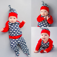 Wholesale Long Sleeve Set Kids - 2016 high quality kids suits 3PCS Set Newborn Baby Girl Boy Geometric printed Tops T-shirt with red sleeves+Long Pants+Hat Outfits top Set