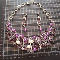 Wholesale Pearl Purple Rhinestone Necklace - pearls necklace earrings wedding jewelry set NJ-260 pink purple faux pearls cluster bridemaid jewelry 2017