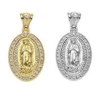 ingrosso catena di vergine mary-New Iced Out ovale Virgin Mary Hip hop lega gioielli strass di cristallo d'oro collana pendente d'argento catena cubana