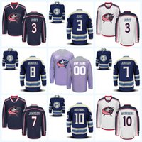 Jones Azul Baratos-Columbus Blue Jackets Jersey 3 Seth Jones 7 Jack Johnson 8 Zach Werenski 10 Alexander Wennberg 100% Stitched Hockey Jerseys