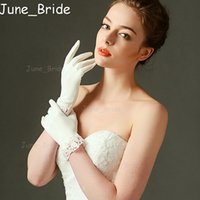 Wholesale Ivory Summer Bridal Gloves - High Quality Short Satin Lace Trim Wedding Bridal Gloves Ivory Cheap Winter Summer Have Full Finger New Style High Quality Party Accessories