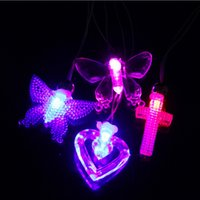 Wholesale Magnet Necklaces - LED flashing Glow necklaces light blue led fashion luminous pendant magnet Colorful Night Light Christmas Party Club toy LED gifts