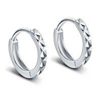 Wholesale korean flower earrings jewelry - Hoop Earrings For Women 925 Sterling Silver Ear Jewelry Korean Classic Silver Mi Flower Earrings Women Girls Gift Fashion New Brand