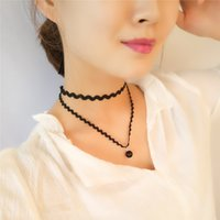 Moda Black Imitation Leather Choker Necklace Gothic Double Layer Chain Charm Pendant Colares Para Mulher Collares Jóias xr160615
